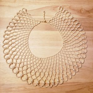Vintage costume pearl collar necklace